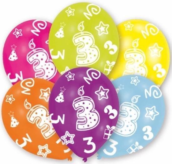 3 jaar leeftijd ballonnen 6x stuks - Leeftijd feestartikelen versieringen