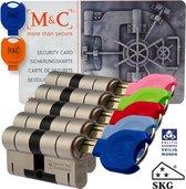 M&C 32/32 set van 5 anti-kerntrek cilinders skg*** gelijksluitend incl. 7 color sleutels.