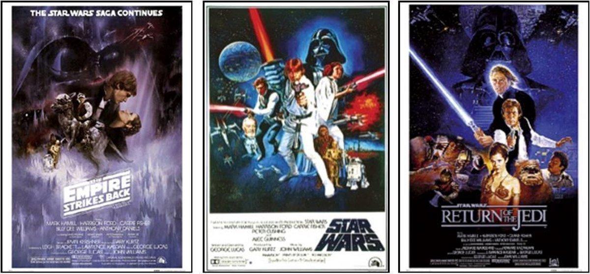 Star Wars-Posters-set van 3 verschillende Star Wars posters-Aanbieding-61x91.5cm.