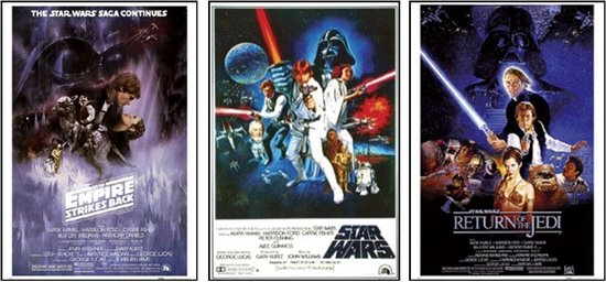 Star Wars Posters -set van 3 verschillende Star Wars posters - Aanbieding- 61x91.5cm