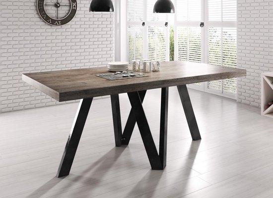 Meubella Eettafel / Eetkamertafel - Rustic - Eiken - Zwart - 180x90x76 cm