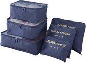 Packing Cubes - 6 stuks - Koffer Organiser - Navy - Je koffer georganiseerd ingepakt