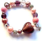 Jewellicious Designs Pink & Silver Sweetheart armband voor Pink Ribbon