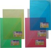 EXXO-HFP #34526 - A4 Offertemap - Transparant Polyprop - Kaartvenster - Blauw - 5 pakken @ 10 stuks