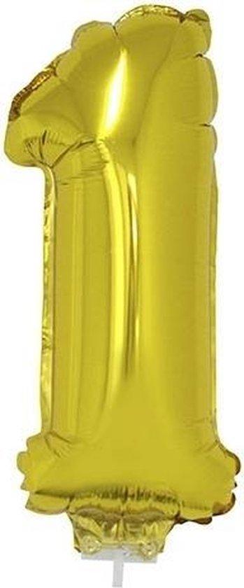 Gouden opblaas cijfer ballon 1 op stokje 41 cm