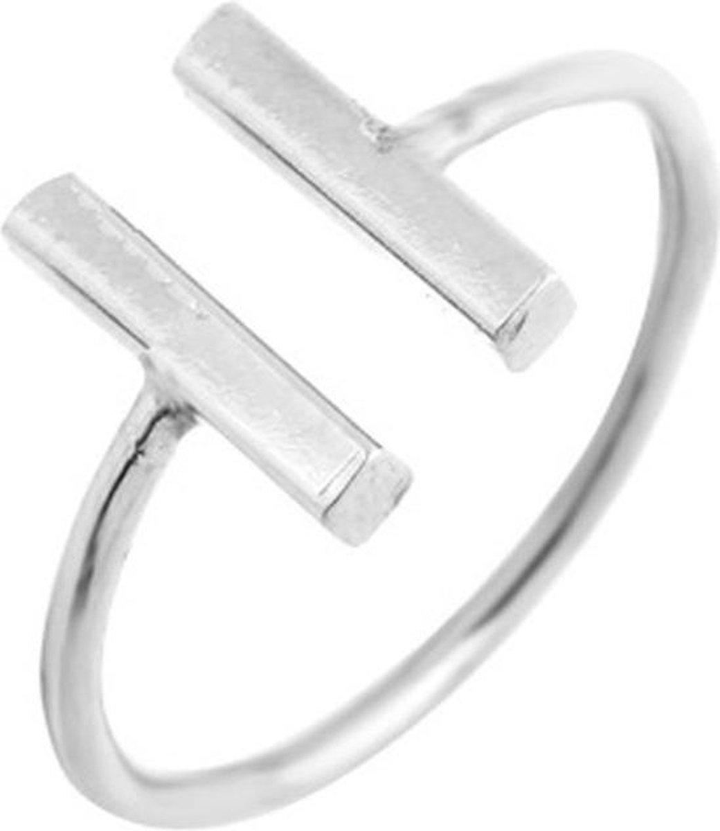 Dubbele bar minimalistische ring staafjes verstelbaar - zilverkleurig - Merkloos