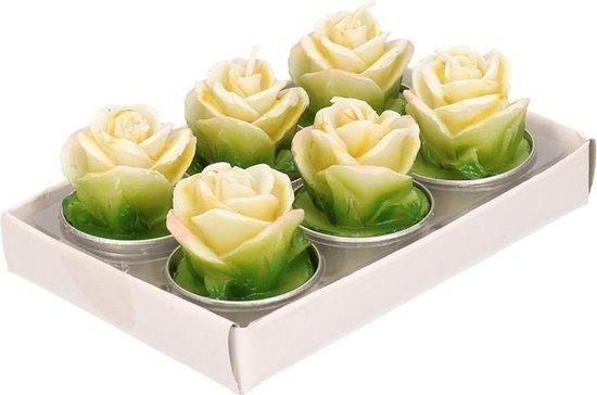 Gele roos theelichtjes 6 stuks