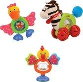 Rammelaar Kip, Pelikaan & Zebra met kleurrijke bolletjes in het midden