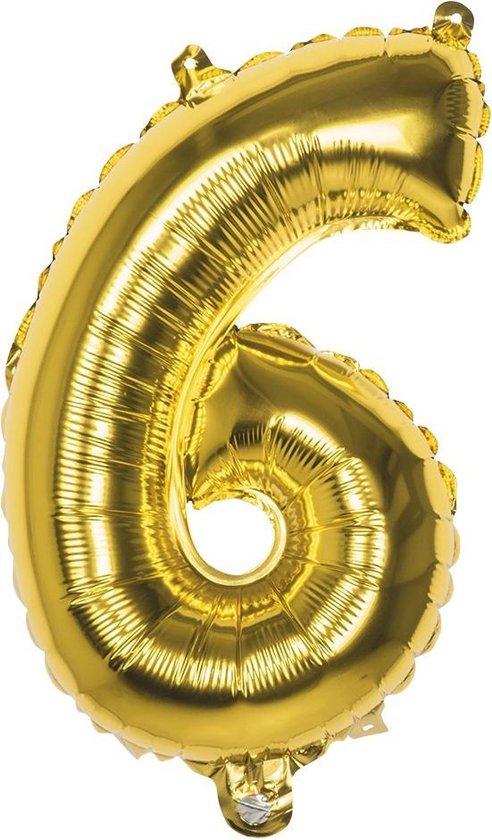 Boland Folieballon Cijfer 6 Goud 36 Cm
