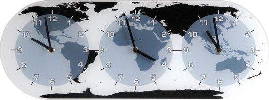 NeXtime Mondial - Klok - Wereldtijden - Glas - 18.6x50 cm - Multicolor