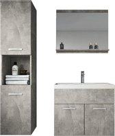 Badplaats - Badkamermeubel Montreal 60cm - Beton - Badmeubel met spiegel en zijkast