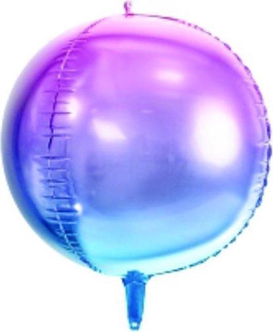 Folieballon rond Paars - Blauw