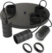 Calex Luminaires - 3 punts cirkel pendel set - Retro - Mat Zwart - E27 Fitting - Ø400mm