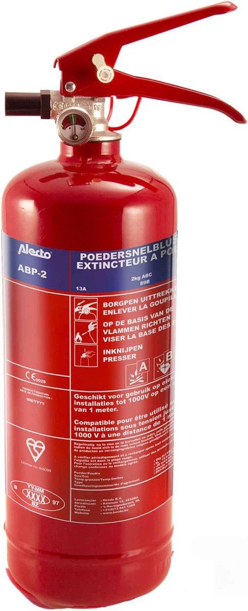 Alecto ABP-2 Poeder brandblusser 2kg - ideaal voor thuis - auto - boot