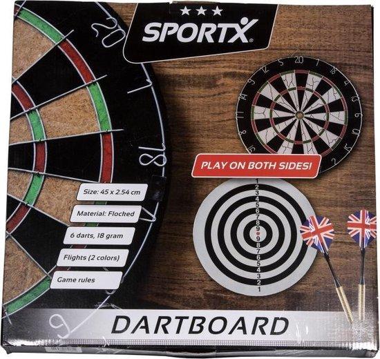 Thumbnail van een extra afbeelding van het spel SportX Dartbord 45 cm met 6 Darts - Speelgoed - Sport en Spel