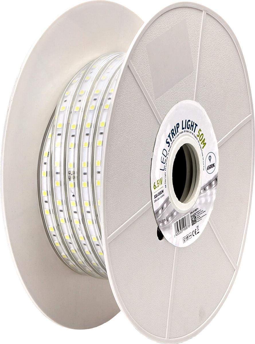 LED Strip - Igna Stribo - 50 Meter - Dimbaar - IP65 Waterdicht - Helder/Koud Wit 6500K - 5050 SMD 230V