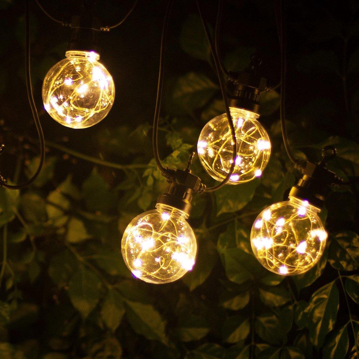 Aigostar 10VRU Lichtsnoer - Lichtslinger - LED Lampjes Slinger - 10 LED Bulbs - 8m - IP44 - 2700K