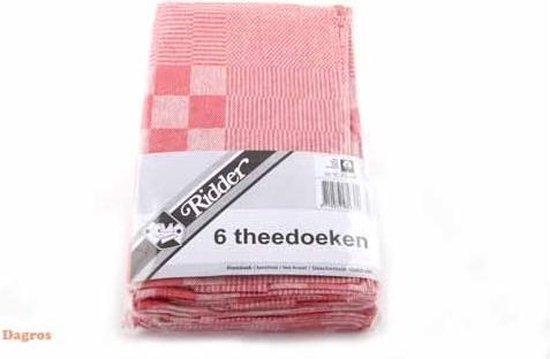 Sorbo Theedoek - 6 Stuks - Geblokt - Rood