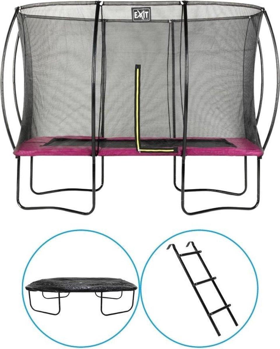 EXIT Toys - Trampoline Met Veiligheidsnet - Op Poten - Silhouette - Rechthoekig - 214x305cm - Roze - Inclusief Ladder en Afdekhoes
