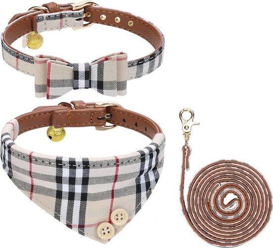 Pepets © Luxe Hondenriem set – Halsband Hond – Bandana Hond – Strik Hond – Hondenstrik – Hondenhalsband – Leiband Hond -Beige Ruit - Maat S