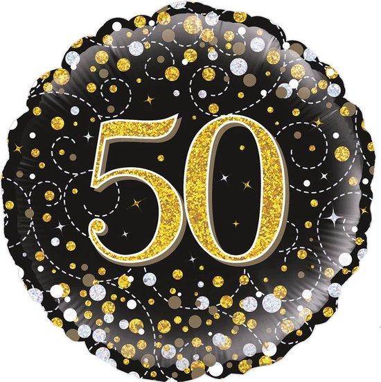 Glitter helium folie-ballon 50 jaar zwart goud.