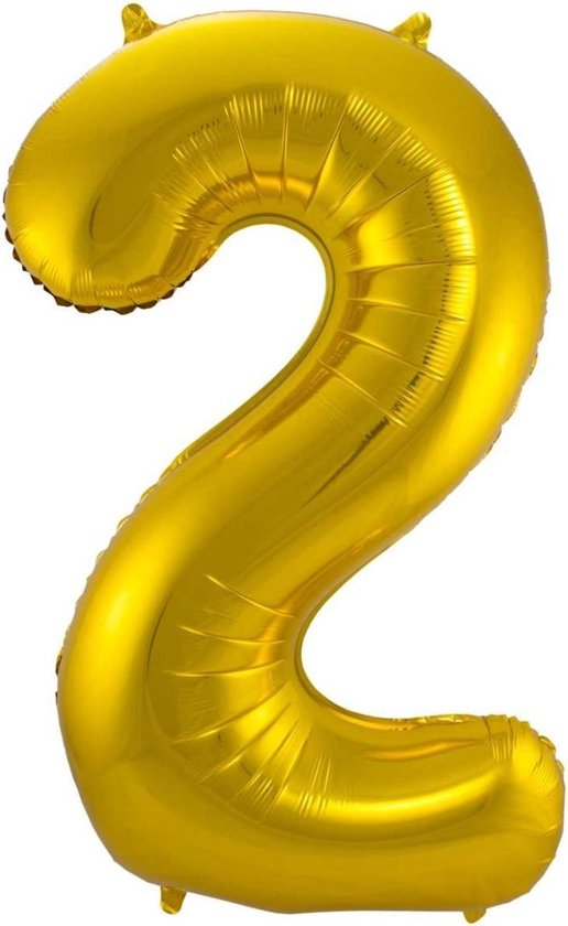 Ballon Cijfer 2 Jaar Goud 36Cm Verjaardag Feestversiering Met Rietje