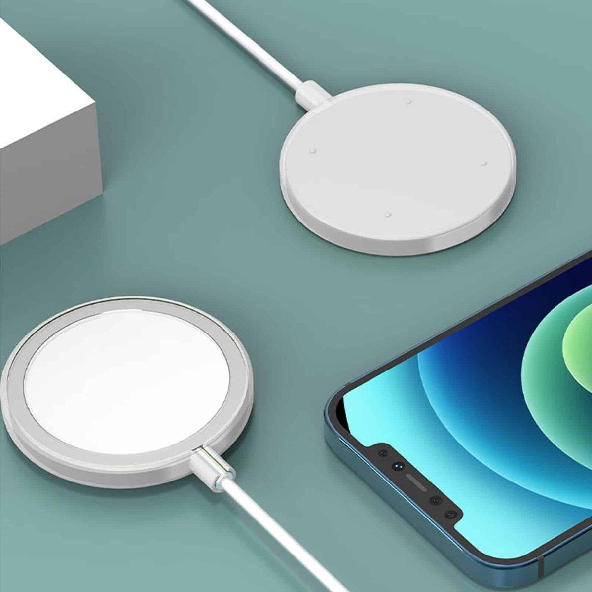 Schokbestendige siliconen + TPU beschermhoes voor iPhone 12 Pro Max MagSafe draadloze oplader (wit)