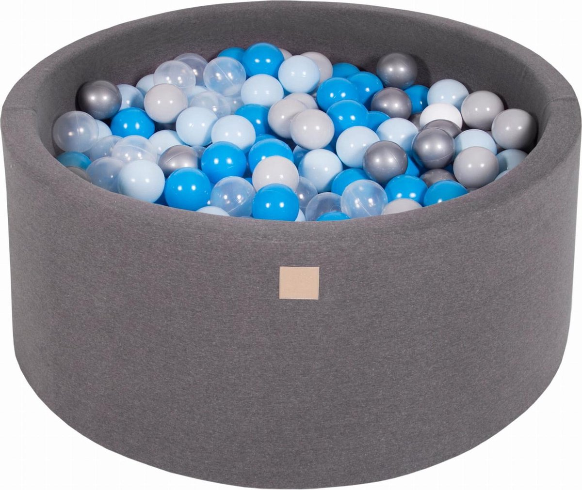 Ronde Ballenbak set incl 300 ballen 90x40cm - Donker Grijs: Blauw, Transparant, Babyblauw, Zilver