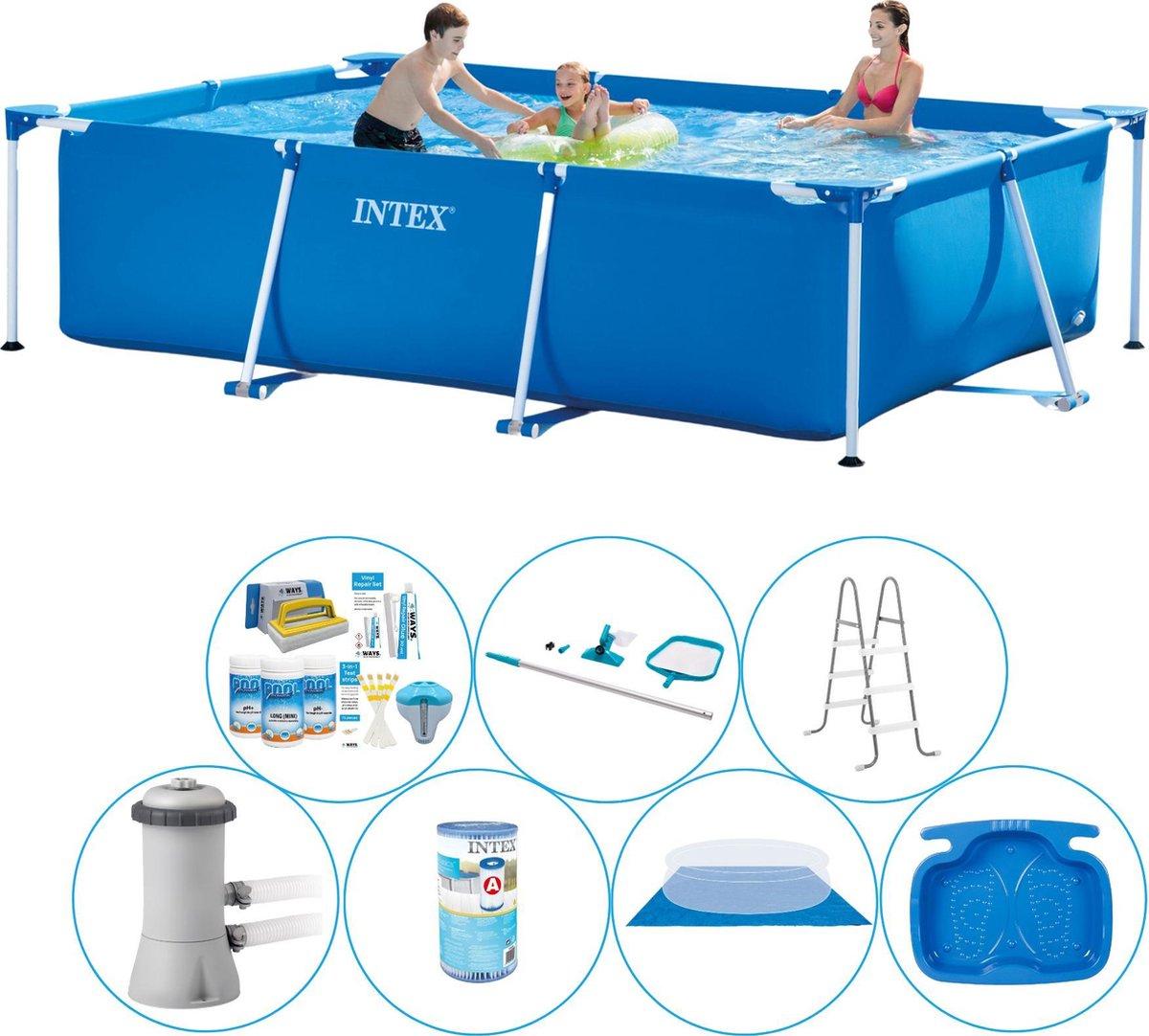 Intex Frame Pool Rechthoekig 300x200x75 cm - 8-delig - Zwembad Bundel