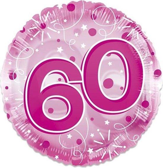 Witbaard Folieballon Clear 60 Jaar 61 Cm Roze