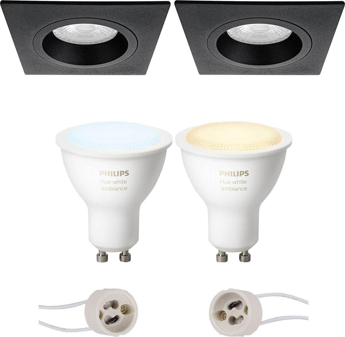 PHILIPS HUE - LED Spot Set GU10 - White Ambiance - Bluetooth - Proma Rodos Pro - Inbouw Vierkant - Mat Zwart - 93mm