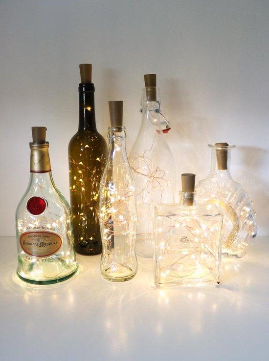Instalights -  5x Flessendop Kurk Sfeerverlichting  -  20 LED lichtjes inclusief batterijen  -  Flessenverlichting met Decoratief licht in Warm Wit | Voor Sfeer en Gezelligheid op Balkon of Terras | Past op haast elke Fles