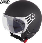 Vinz Stelvio Jethelm Mat Zwart / Scooterhelm / Brommerhelm / Motorhelm / Fashionhelm voor Scooter / Vespa / Brommer / Motor