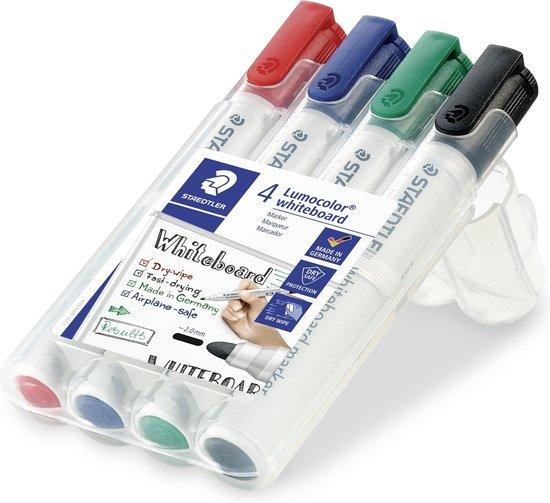 Afbeelding van Staedtler Lumocolor whiteboard marker - 2mm - Rond - 4 stuks/kleuren