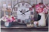 Decopatent® XL Canvas Schilderij Klok - Wandklok - PARIJS & BLOEMEN - Muur Schilderijen met Klok - Woonkamer - Keuken - 60 x 40 Cm