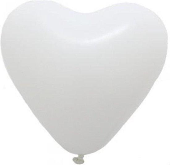 Helium hartjes ballonnen wit 100 stuks valentijnsdag