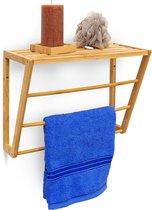 relaxdays handdoekrek bamboe met plankje badhanddoekhouder muurbevestiging