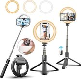 STHER© Ringlamp Selfie Stick met Afstandsbediening -90 cm- Ringlamp Statief- Selfie Ring Light - Selfie Stick Tripod