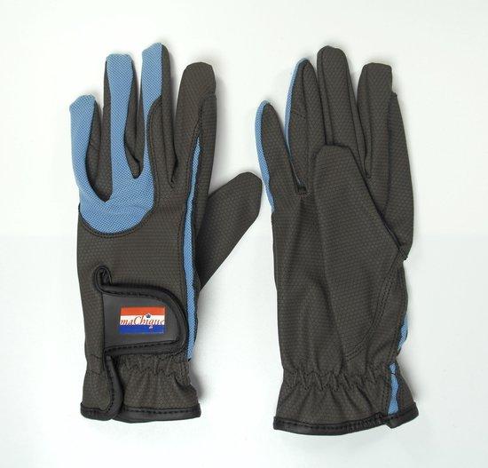 Paardrijhandschoenen bruin/blauw met imitatie lederen binnenzijde en blauwe katoenen accenten maat S HT5127
