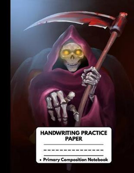 Handwriting Practice Paper Primary Composition Notebook: Awesome Halloween Gifts for Kids: Spooky Killer Skeleton, Dotted Writing Sheet Workbook For P