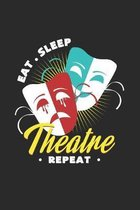 Eat sleep theatre repeat: 6x9 Theatre - dotgrid - dot grid paper - notebook - notes
