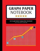 5x5 Graph Ruled Composition Notebook: 100 Pages, 5x5 Graphing Grid Paper, Red (Extra Large, 8.5x11 in.)