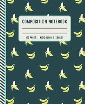 Composition Notebook 100 Pages Wide Ruled 7x5x9.25: Banana Pattern 1 Subject School Composition Notebook for Girls, Kids, Women and Teenagers