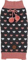 Jack and Vanilla trui hearts grijs roze m 32cm