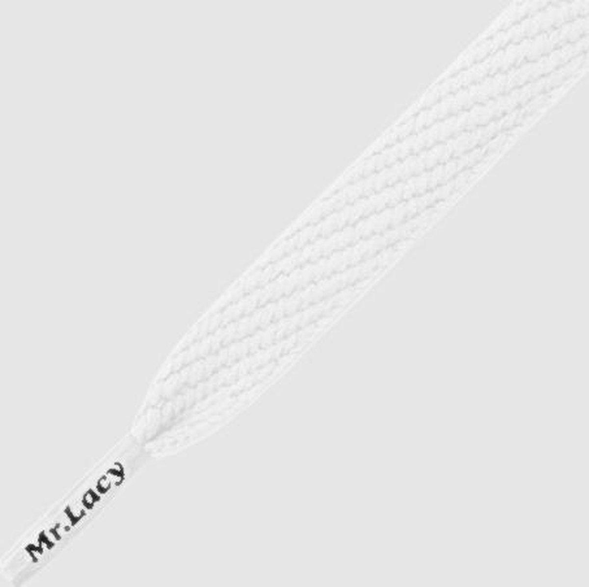 Mr. Lacy - Schoenveters - Veters - Sneakerveters  - Flatties - Plat - Wit - Veterlengte 130 cm – Bre