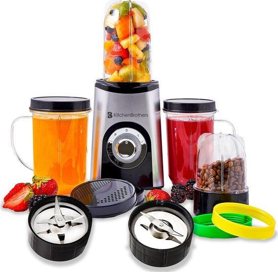 KitchenBrothers Smoothie Blender - 13-Delige Set - 4 Bekers - Smoothiemaker...
