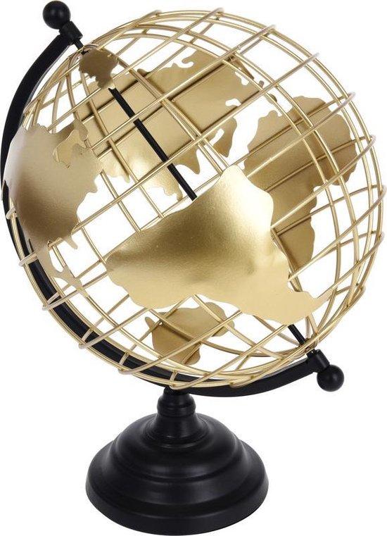Decoratie wereldbol/globe zwart/goud metaal 28 x 35 cm - Metaaldraad wereldbal - Landen/contintenten topografie in het Engels - Woonaccessoires/woondecoraties