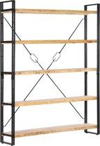 vidaXL Boekenkast met 5 schappen 140x30x180 cm massief mangohout