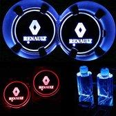 Coole Lichtgevende LED Onderzetters - Bekerhouders - Sfeerverlichting - LED Licht - Interieur Verlichting - 7 Verschillende Kleuren LED - Opladen via USB – Renault