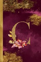 C Journal: 6 x 9 Pretty Gold Foil Floral Design Letter ''C'' Monogram Initial Book for Women and Girls: Wide Ruled Journal For All